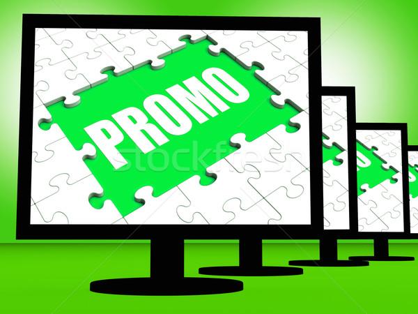 Promo Screen Shows Promotional Rebates Discounts And Rebate Stock photo © stuartmiles