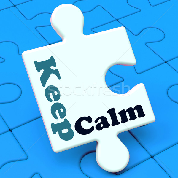 Keep Calm Puzzle Shows Calming Relax And Composed Stock photo © stuartmiles