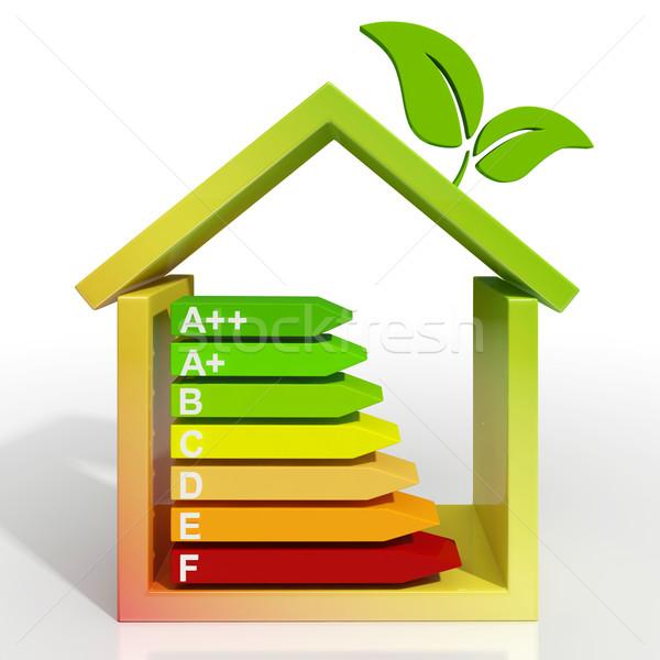 Efficacité énergétique icône vert logement bâtiment Photo stock © stuartmiles