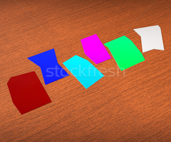 Six Blank Paper Slips Show Copyspace For 6 Letter Word Stock photo © stuartmiles