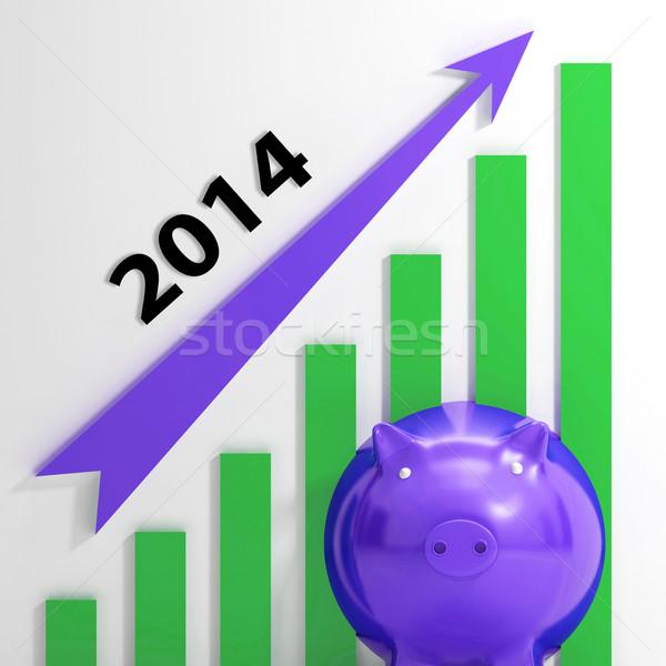 Grafiek 2014 groeiend verkoop inkomsten betekenis Stockfoto © stuartmiles