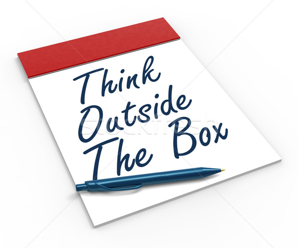 Think Outside The Box Notebook Means Creativity Or Brainstorming Stock photo © stuartmiles