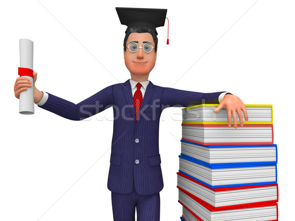 Man With Diploma Represents New Grad And Masters Stock photo © stuartmiles