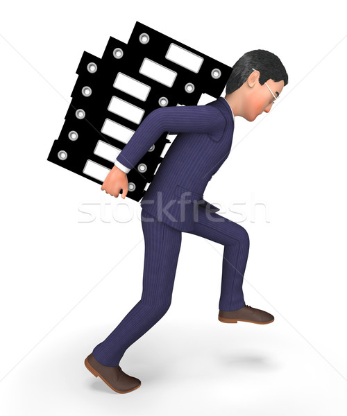 Businessman Carrying Files Represents Administration Folders And Answer Stock photo © stuartmiles
