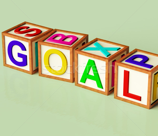 Blocks Spelling Goal As Symbol For Target And Success Stock Photo