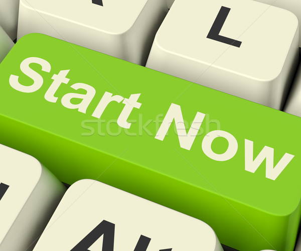 Start Now Key Meaning To Commence Immediately On Internet Stock photo © stuartmiles