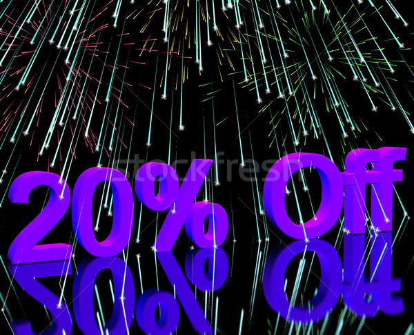 20% Off With Fireworks Showing Sale Discount Of Twenty Percent Stock photo © stuartmiles