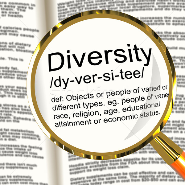 Diversity Definition Magnifier Showing Different Diverse And Mix Stock photo © stuartmiles