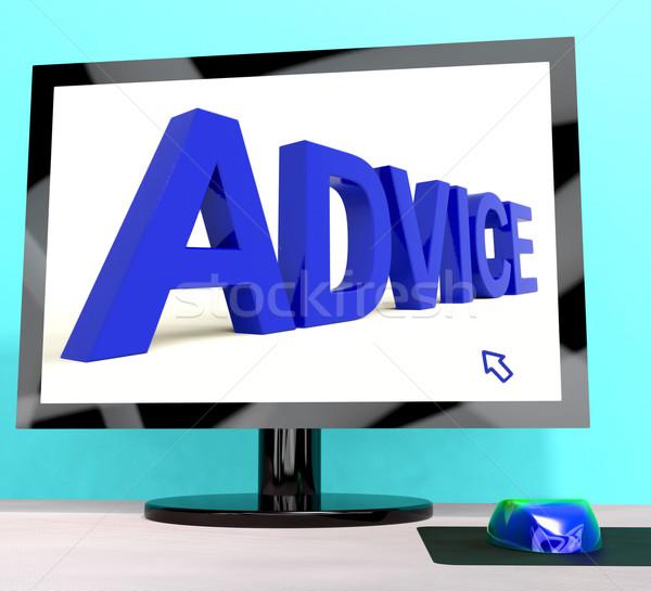 Rada słowo ekranie komputera wsparcie komputera Zdjęcia stock © stuartmiles