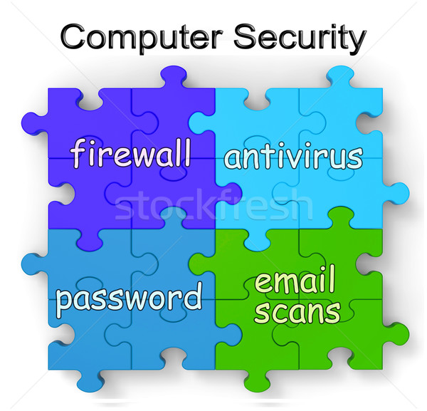 Computer Security Puzzle Shows Firewall And Antivirus Stock photo © stuartmiles