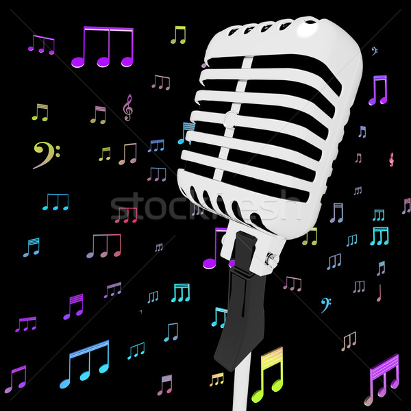 Microphone Music Closeup With Musical Notes Shows Songs Or Hits Stock photo © stuartmiles