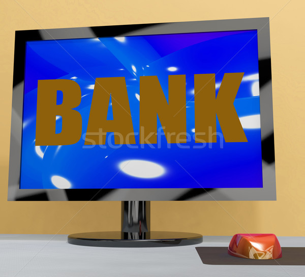 Bank On Monitor Shows Online Or Electronic Banking Stock photo © stuartmiles