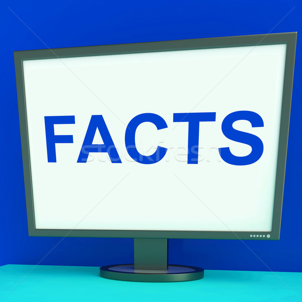 Facts Screen Shows True Information Wisdom And Knowledge Stock photo © stuartmiles
