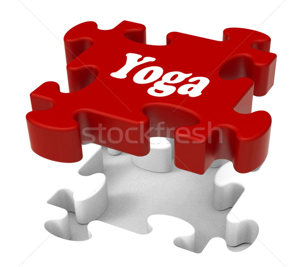 Yoga Puzzle Shows Enlightenment Meditate Meditation And Relaxati Stock photo © stuartmiles