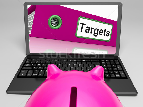 Targets Laptop Means Aims Objectives And Goal setting Stock photo © stuartmiles