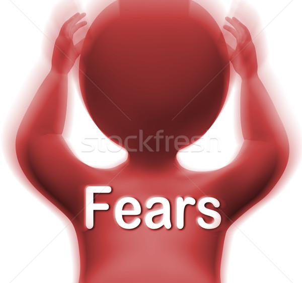Foto stock: Homem · significado · medo · assustado