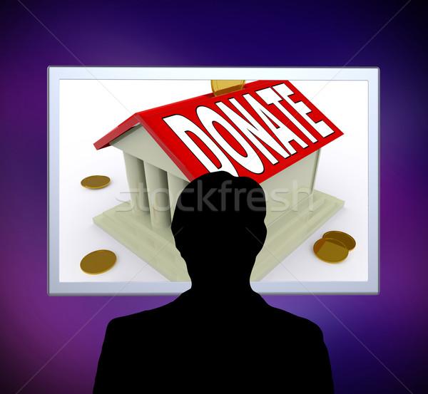 Bağışlamak ev para kutu adam vermek Stok fotoğraf © stuartmiles