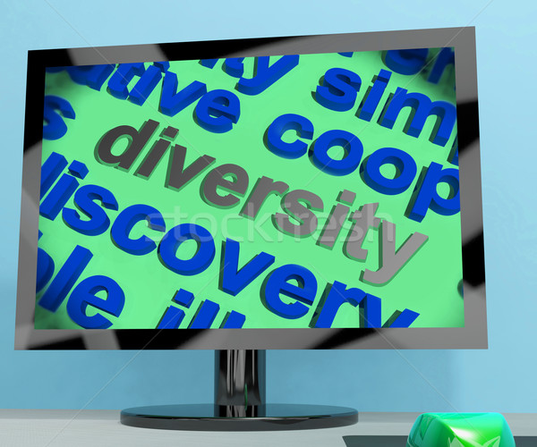 Diversity Word Screen Means Cultural And Ethnic Differences Stock photo © stuartmiles