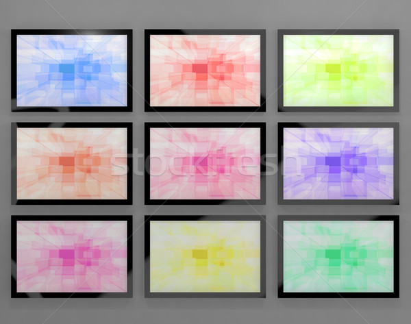 TV Monitors Wall Mounted In Different Colors Representing High D Stock photo © stuartmiles