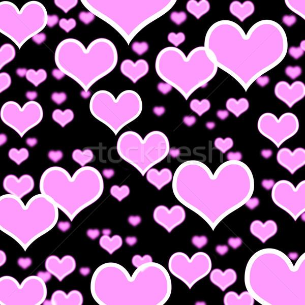 Stockfoto: Harten · bokeh · zwarte · tonen · liefde