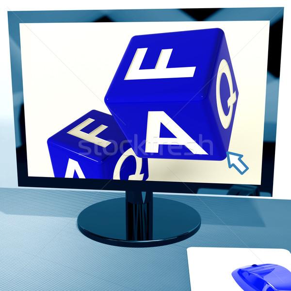 Faq dadi schermo del computer online Foto d'archivio © stuartmiles