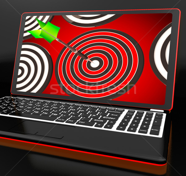 Target laptop accuratezza perfetto shot internet Foto d'archivio © stuartmiles