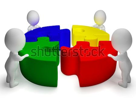 Puzzle Solved And 3d Characters Showing Team And Teamwork Stock photo © stuartmiles