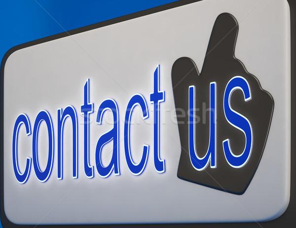 Kapcsolatfelvétel gomb segítség útmutatás információ üzlet Stock fotó © stuartmiles