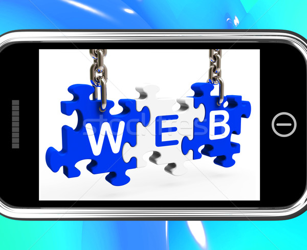 Stock photo: Web On Smartphone Shows Mobile Browsing