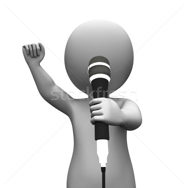Chanteur chanter personnage musique karaoke concert Photo stock © stuartmiles