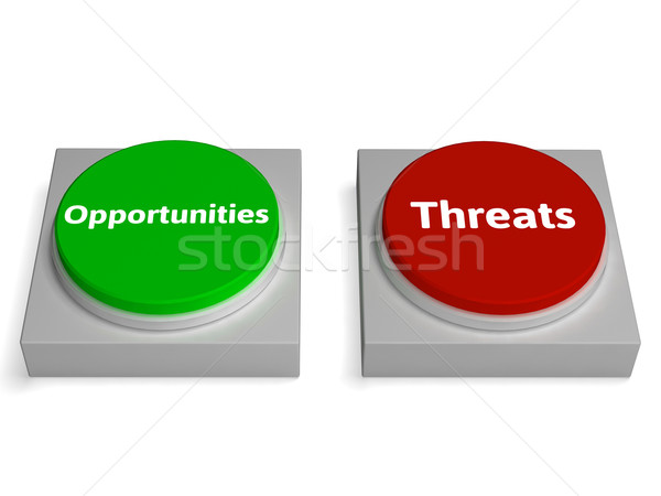 Threats Opportunities Button Shows Risk Research Analysis Stock photo © stuartmiles