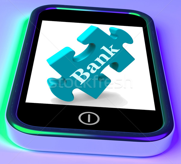 Bank Phone Shows Online Or Electronic Banking Transactions Stock photo © stuartmiles