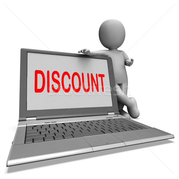 Stock photo: Discount Laptop Shows Promotional Sale Discount Or Clearance
