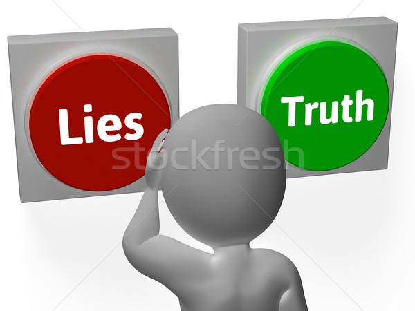 ストックフォト: 嘘 · 真実 · ボタン · を見る