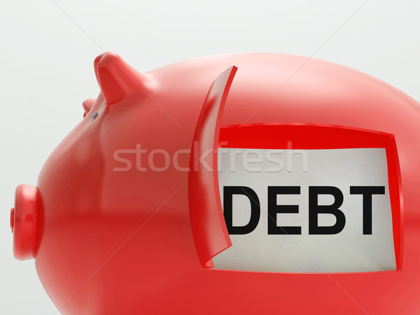 Stock photo: Debt Piggy Bank Means Arrears And Money Owed