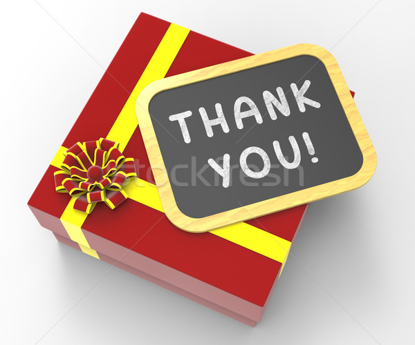 Thank You! Present Means Gratitude And Appreciation Stock photo © stuartmiles