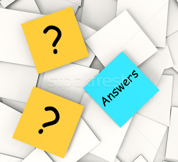 Questions Answers Post-It Notes Show Questioning And Explanation Stock photo © stuartmiles