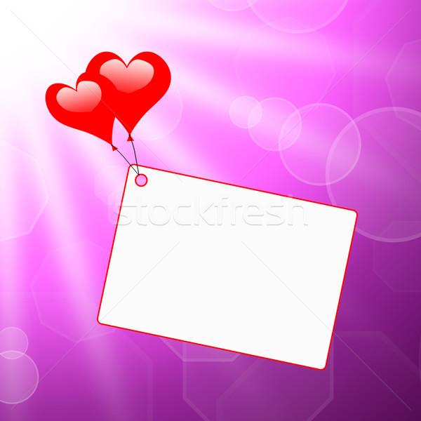 Corazón globos nota apasionado carta romántica Foto stock © stuartmiles