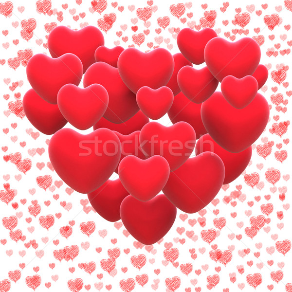 Heart Made With Hearts Shows Romantic Lover Or Passionate Couple Stock photo © stuartmiles