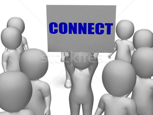 Kapcsolódás tábla karakter globális kommunikáció mutat hálózatok Stock fotó © stuartmiles