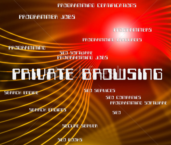Private Browsing Shows Browsers Confidential And Words Stock photo © stuartmiles