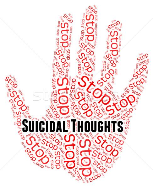 Foto stock: Pare · pensamentos · suicídio · crise · significado