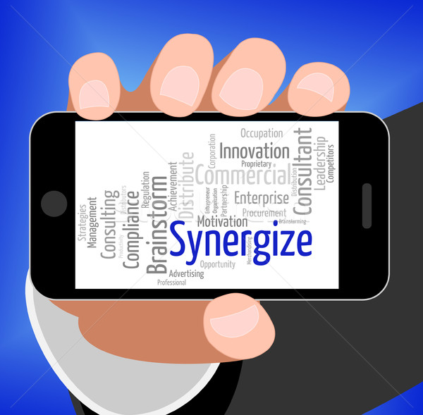 Synergize Word Shows Work Together And Collaboration Stock photo © stuartmiles
