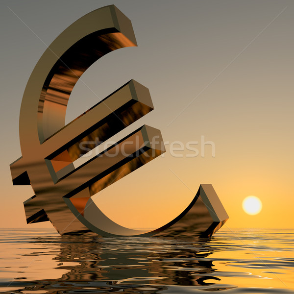 Euro Sinking And Sunset Showing Depression Recession And Economi Stock photo © stuartmiles