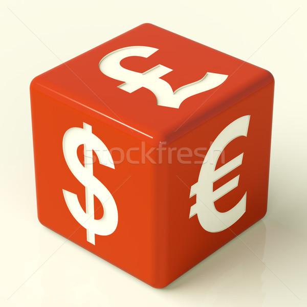Dollar Pound And Euro Signs On Dice Stock photo © stuartmiles