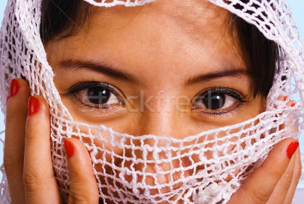 Müslüman kadın peçe yüz beyaz bez Stok fotoğraf © stuartmiles