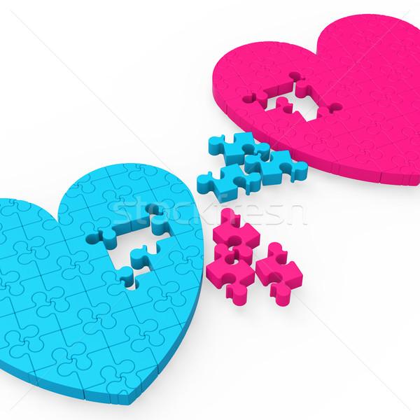 Two 3D Hearts Showing Romantic Gestures Stock photo © stuartmiles