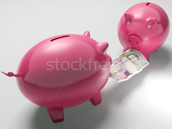 Piggybanks Fighting Over Money Shows Investment Decisions Stock photo © stuartmiles