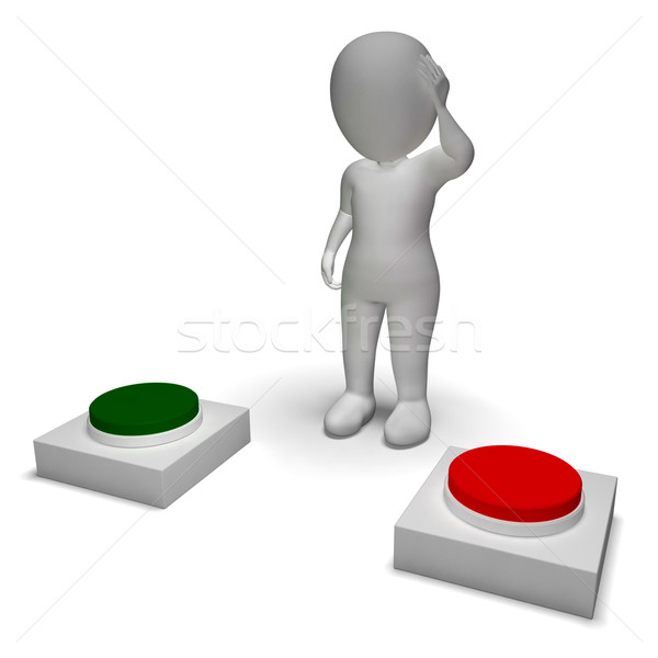 Choice Of Pushing Buttons 3d Character Shows Indecision Stock photo © stuartmiles