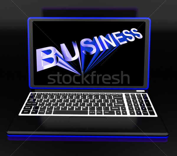 Business On Laptop Shows Online Managing Stock photo © stuartmiles
